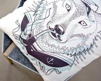 Dekokissen mit Seemann Wolf