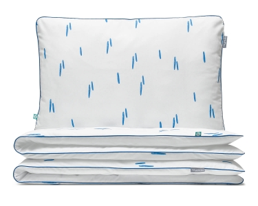 Kinderbettwäsche Striche blau/ weiß aus hochwertiger Baumwolle