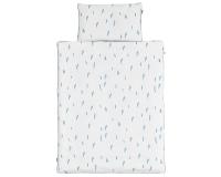 Kinderbettwäsche Striche blau/ weiß in 90x120 cm und 100x135 cm