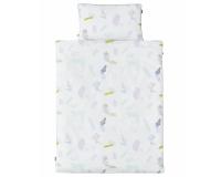 Baumwoll-Bettwäsche mit bunten Pastellen auf klassischem weiß