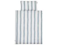 Kinderbettwäsche gestreift blau-grau/ weiß in 90x120 cm und 100x135 cm