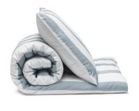 Schöne Kinderbettwäsche gestreift blau-grau/ weiß aus zertifizierter Baumwolle