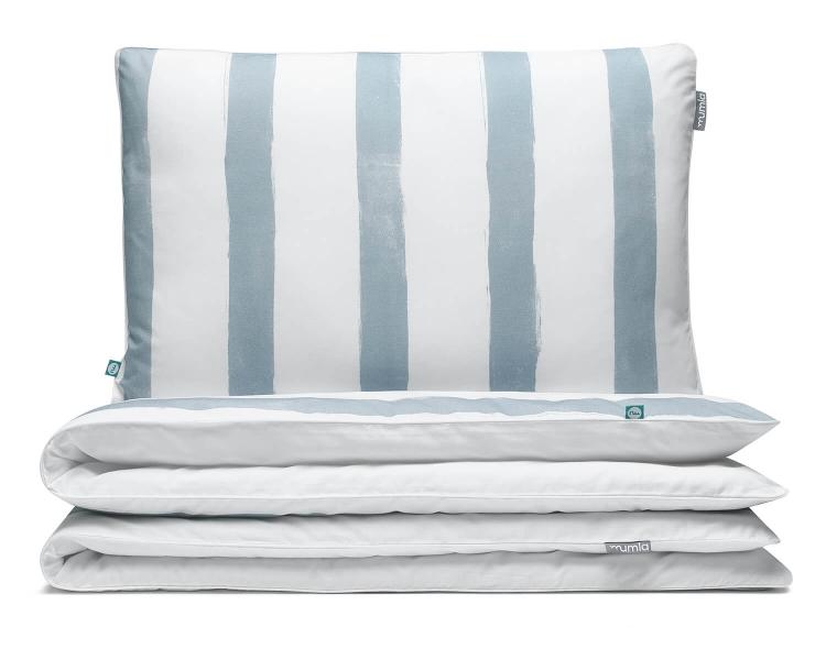 Kinderbettwäsche gestreift blau-grau/ weiß aus hochwertiger Baumwolle