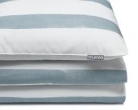 Bedruckte Baumwoll-Kinderbettwäsche gestreift blau-grau/ weiß
