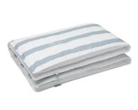 Kinderbettwäsche gestreift blau-grau/ weiß aus Baumwolle hochwertig