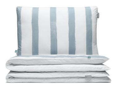 Bettwäsche gestreift blau-grau/ weiß aus hochwertiger Baumwolle