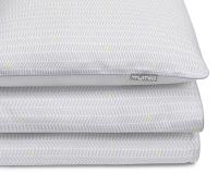 Bedruckte Baumwoll-Kinderbettwäsche Striche grau/ gelb auf weiß