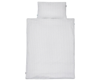 Kinderbettwäsche Striche grau/ gelb auf weiß in 90x120 cm und 100x135 cm