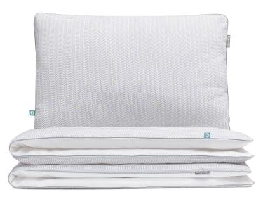 Bettwäsche Striche grau/ gelb auf weiß aus hochwertiger Baumwolle