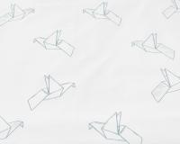Schöne Kinderbettwäsche Vogel mit grauen Origami auf weiß aus zertifizierter Baumwolle