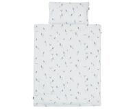Schöne Bettwäsche mit blauen Bauernbübchen Muscari auf weiß aus zertifizierter Baumwolle