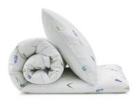 Bedruckte Baumwoll-Bettwäsche mit blauen Bauernbübchen Muscari auf weiß