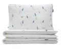 Florale Bettwäsche mit blauen Bauernbübchen Muscari auf weiß aus hochwertiger Baumwolle