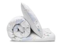 Schöne Kinderbettwäsche mit bunten Landschaftsmotiven auf weiß aus zertifizierter Baumwolle