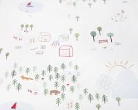 Baumwoll-Kinderbettwäsche mit bunten Landschaftsmotiven auf klassischem weiß