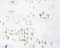 Baumwoll-Bettwäsche mit bunten Landschaftsmotiven auf klassischem weiß