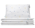 Nachthimmel Kinderbettwäsche mit Mond und Sternen Grafik auf weiß aus hochwertiger Baumwolle