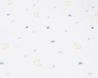 Baumwoll-Kinderbettwäsche mit Mond und Sternen Grafik auf klassischem weiß
