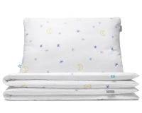 Nachthimmel Bettwäsche mit Mond und Sternen Grafik auf weiß aus hochwertiger Baumwolle