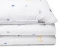 Bedruckte Baumwoll-Bettwäsche mit Mond und Sternen Grafik auf weiß