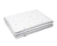 Nachthimmel Bettwäsche mit Mond und Sternen Grafik auf weiß aus Baumwolle hochwertig