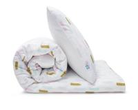 Schöne Kinderbettwäsche mit Pinselstrichen in Pastellfarben und Altgold auf weiß aus zertifizierter Baumwolle