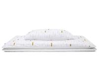 Hochwertige Bettwäsche mit Pinselstrichen in Pastellfarben und Altgold auf weiß günstig online kaufen
