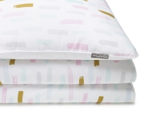 Bedruckte Baumwoll-Bettwäsche mit Pinselstrichen in Pastellfarben und Altgold auf weiß