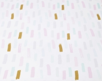 Baumwoll-Bettwäsche mit Pinselstrichen in Pastellfarben und Altgold auf klassischem weiß