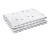Moderne Bettwäsche mit Pinselstrichen in Pastellfarben und Altgold auf weiß aus Baumwolle hochwertig