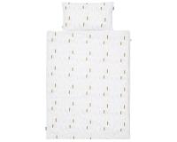 Moderne Bettwäsche mit Pinselstrichen in Pastellfarben und Altgold auf weiß Normalgröße 135x200 cm