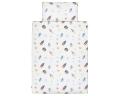 Schöne Kinderbettwäsche Weltall mit Astronauten und Raketen auf weiß aus zertifizierter Baumwolle