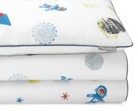 Bedruckte Baumwoll-Bettwäsche Weltall mit Astronauten und Raketen auf weiß
