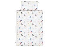 Schöne Bettwäsche Weltall mit Astronauten und Raketen auf weiß aus zertifizierter Baumwolle