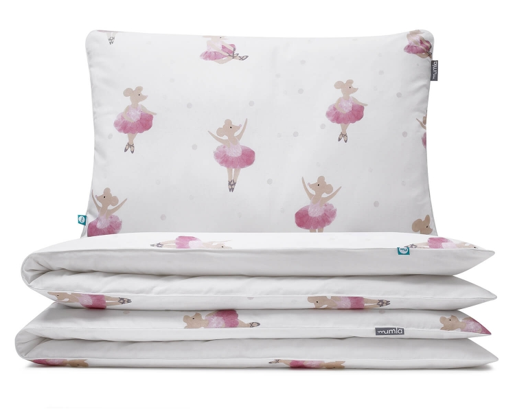 Moderne Bettwäsche Ballerina Maus tanzend auf weiß aus hochwertiger Baumwolle