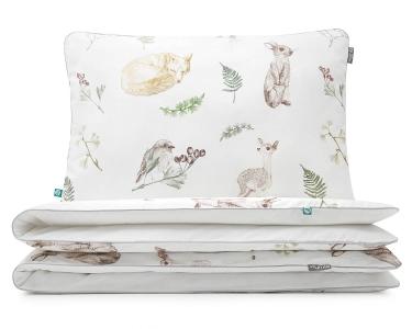 Moderne Kinderbettwäsche Waldtiere mit gemalten Waldbewohnern auf weiß aus hochwertiger Baumwolle