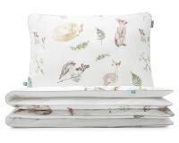 Moderne Bettwäsche Waldtiere mit gemalten Waldbewohnern auf weiß aus hochwertiger Baumwolle