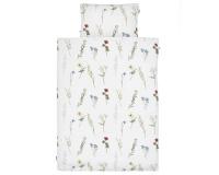 Schöne Bettwäsche mit gemalten Wildblumen auf weiß aus zertifizierter Baumwolle