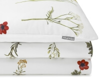 Bedruckte Baumwoll-Bettwäsche mit gemalten Wildblumen auf weiß