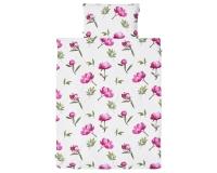 Florale Kinderbettwäsche mit gemalten Pfingstrosen im kräftigen rosa auf weiß aus zertifizierter Baumwolle