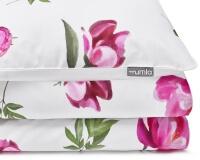 Bedruckte Baumwoll-Bettwäsche mit gemalten Pfingstrosen im kräftigen rosa auf weiß