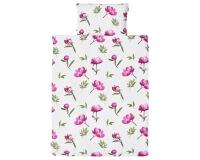 Florale Bettwäsche mit gemalten Pfingstrosen im kräftigen rosa auf weiß aus zertifizierter Baumwolle