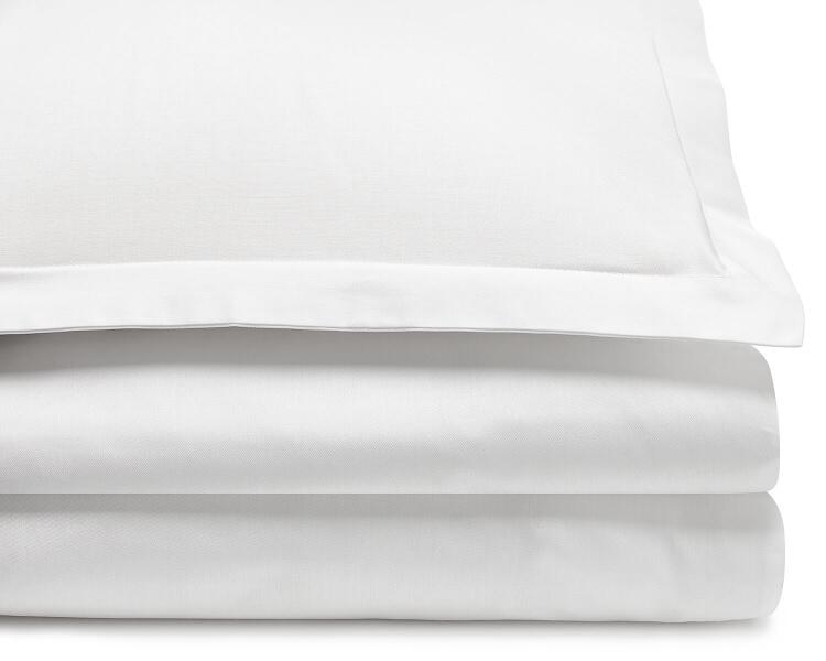 Mako Damast Bettwäsche Weiß Uni