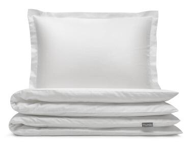 Luxus Mako-Damast Bettwäsche in uni weiß aus reiner ägyptischer Baumwolle