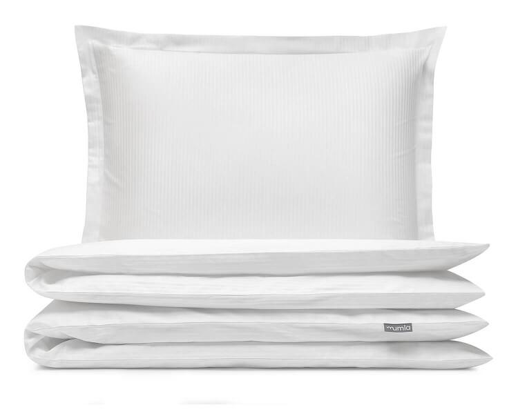Luxus Mako-Damast Bettwäsche gerillt in uni weiß aus reiner ägyptischer Baumwolle
