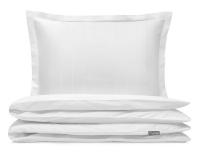 Luxus Mako-Damast Bettwäsche gestreift in uni weiß aus reiner ägyptischer Baumwolle