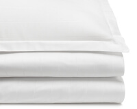 Edle Mako-Damast Bettwäsche gestreift in uni weiß