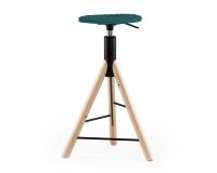 Mannequin Bar 01 Dreh-Barhocker Türkis 001, höhenverstellbar auf Holz Füßen
