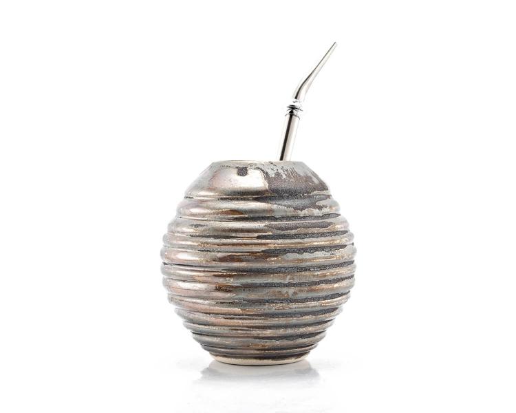 Kalebasse Mate Tee Becher im Metallic Optik