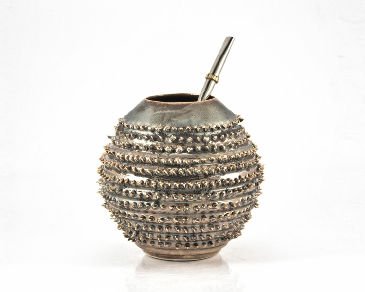 Kalebasse Mate Tee Becher Spiky metallic